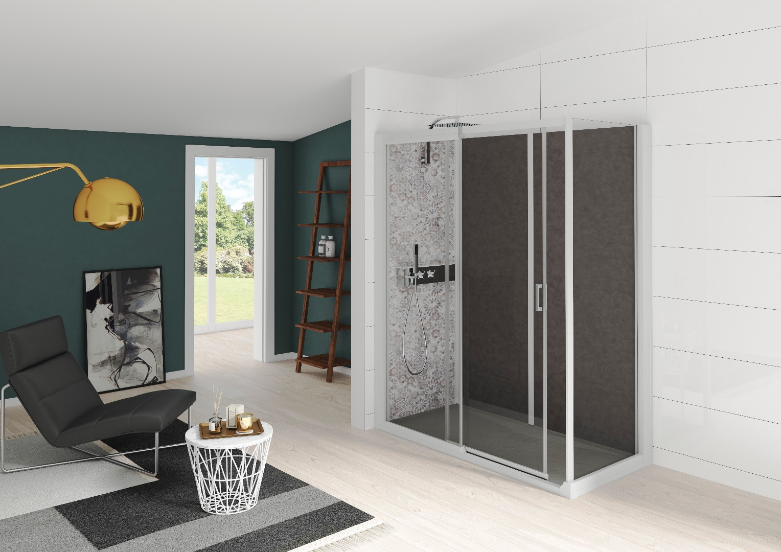 Douche contemporaine finition verre